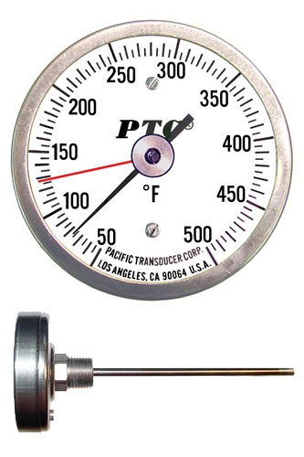 General Purpose Stainless Steel Lab Stem Thermometers (Small Dials)