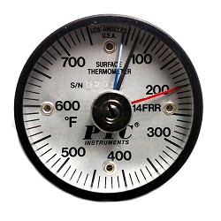 50° to 750°F Magnetic Rail Thermometer / Max-Min Hands