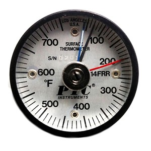 50° to 750°F Magnetic Rail Thermometer Max-Min Hands 314FRRMM
