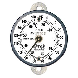 Tab Mount Thermometer Dual Scale 0° to 150° F / -20° to 65° C  315DST1