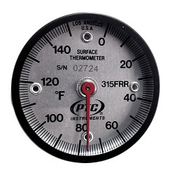 0° to 150°F Industrial Magnetic Rail Thermometer 315FRR